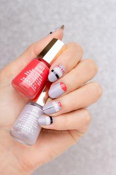 Geometric nail art with Mavala polishes || Minimalist Nail Art