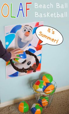 Are your kids still obsessed with Frozen? Then check out the Olaf beach ball gam… Are your kids still obsessed with Frozen? Then check out the Olaf beach ball game Adelle put together and keep the Frozen-themed fun going at your house. Disney Frozen Party, Frozen Birthday Party Games, Luau Party Games, Frozen Fever Party, Summer Party Games, Olaf Party, Frozen Theme Party, 4th Birthday Parties, Frozen Games