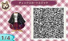 レザージャケとチェックスカート (1)