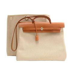 Hermes Herbag MM 2 in 1 Beige Canvas Brown Leather Shoulder Bag