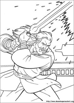 Jedi Knight Qui Gon Jinn With A Laser Sword Coloring Page You Will Love To Color Nice Enjoy This