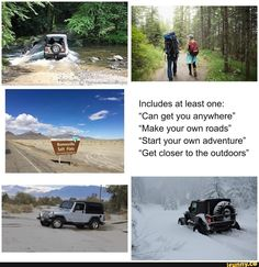 """Bonneville Includes at least one: """"Can get you anywhere"""" """"Make your own roads"""" """"Start your own adventure"""" """"Get closer to the outdoors"""" – popular memes on the site iFunny.co #adventuretime #tvshows #jeep #commercial #bonneville #includes #least #can #get #anywhere #make #own #roads #start #adventure #closer #outdoors #pic Pip Boy, Popular Memes, Roads, Adventure Time, Make Your Own, Closer, Jeep, Fun Facts, Tv Shows"""