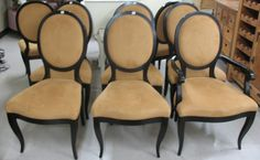 Camel Brown on Black - Medallion back chairs
