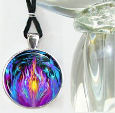 Violet Flame Necklace Psychedelic Chakra Jewelry Reiki Healing Angels Silver - product images  of