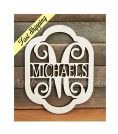 Personalized Family Sign Family Name Wooden Unpainted - Home Decor - Wedding Decor - Wedding Gift - Personalized Gift - Housewarming Gift Wooden Monogram, Monogram Signs, Monogram Wall, Wooden Name Signs, Wooden Names, Parts Of The Letter, Monogram Painting, Wedding Decorations, Decor Wedding