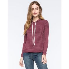 Full Tilt Striped Ribbed Womens Hoodie ($25) ❤ liked on Polyvore featuring tops, hoodies, wine, purple hoodie, sweatshirts hoodies, purple hoodies, purple hooded sweatshirt and hoodies pullover