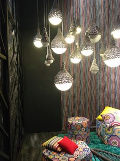 Missoni, the prints on the stools remind me a but of the Klimt. Decor, House Design, Interior And Exterior, Interior, Eclectic Home, Home Decor, Lights, Eclectic Style, Light