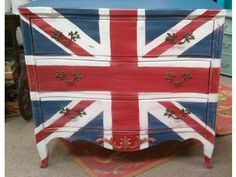 By The Purple Painted Lady- all in Chalk Paint ® decorative paint byAnnie Sloan ...Napoleonic Blue, Emperor's Silk & Pure White.  All hail to the Union Jack flag, baby!