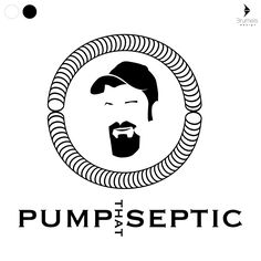 black and white logo, pump that septic pumping pumper pipes illustrator rough work negative space B&W logo beard face man hat circle Brumels Design Jonathan Brumels