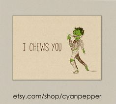 "INSTANT DOWNLOAD zombie valentines anniversary funny "" I Chews you"" illustrated printable folded card on Etsy, $3.00"