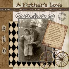 A Father's Love ~ Cute offset retro diamond photo matt with a scrolled photo header and vintage bicycle embellishment set the era.