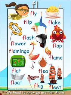 fl Phonics Poster - a FREE PRINTABLE poster for auditory discrimination, sound studies, vocabulary and classroom reference.