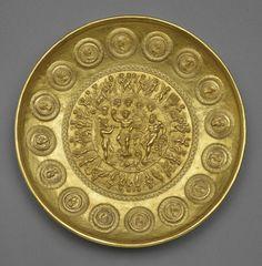 Offering bowl with Bacchus, Hercules, and coins, Roman, ca. AD 210. Gold. Bibliothèque nationale de France, Département des monnaies, médailles et antiques, Paris