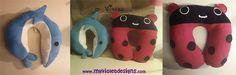 Almohadones para viaje con forma de delfin y san antonio. myvioletdesigns.com