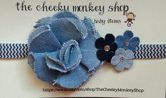Denim flower and chevron headband by TheCheekyMonkeyShop on Etsy