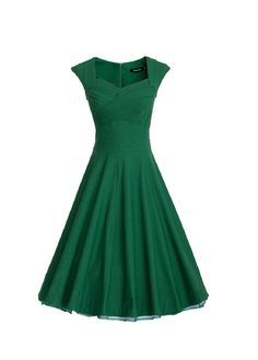 MUXXN Women 1950s Vintage Retro Capshoulder Party Swing Dress (S, Green)