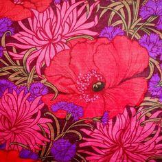 Vintage Fabric Retro 60s 70s RED Purple Poppy Flower Power DIY cushion craft