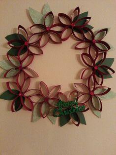 Repurposed paper towel roll wreath.