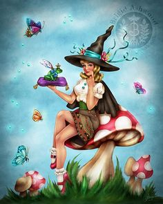 Magick Wicca Witch Witchcraft:  Witchen Kitsch Pin-up #Witch, signed art print by Brigid Ashwood.