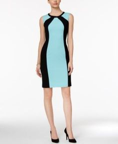 Nine West Colorblocked Sheath Dress - Blue 12