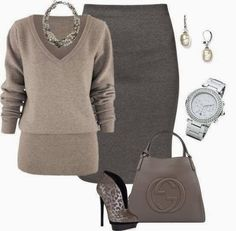 Outfits Ideas for Women... || Neutral colors | Business attire | Pencil skirt find more women fashion on misspool.com