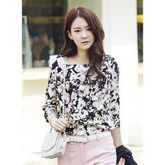 Korea Star Fashion 엣지있는 어깨패드 여성스러운블라우스 플라워패드블라우스 - 34,200원 by 제이드