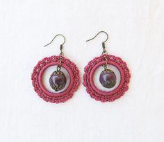 Pink Handmade Earrings, Fiber Earrings, Crochet Jewelry, Round Dangle Earrings, Textile Jewelry, Gift Ideas, For Her