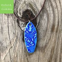 Blue White Flower Painted Wood Surfboard Necklace Hibiscus Hawaiian Girls Womens