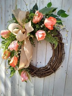 Tulip Wreath Tulip Door Wreath Spring Tulip Wreaths Front