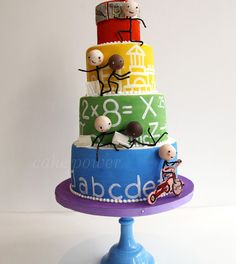 Beautiful Cake Pictures: Creative Appreciation Cake for Teachers - Colorful Cakes, Themed Cakes - Beautiful Cake Pictures, Beautiful Cakes, Amazing Cakes, Cupcakes, Cupcake Cakes, Kid Cakes, Kreative Desserts, Teacher Cakes, School Cake