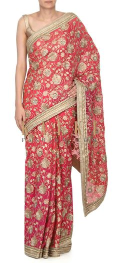 Buy this Shaded saree in rani pink and peach in zari and sequin work only on Kalki