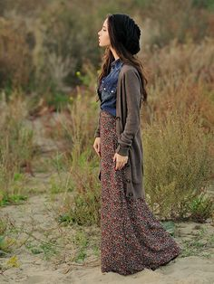How to Wear a Long Cardigan: Layer a long cardigan over a maxi skirt