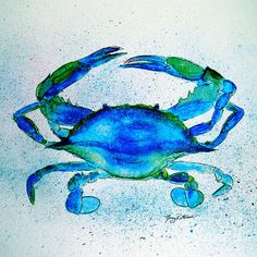 Bright Blue Crab - Watercolor painting/mixed media by Nancy Patterson