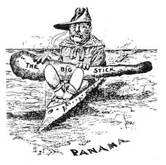 "Theodore Roosevelt's foreign policy: ""speak softly and carry a big stick;"" Roosevelt described his style of foreign policy as ""the exercise of intelligent forethought and of decisive action sufficiently far in advance Society Problems, Panama Canal, Mass Communication, Theodore Roosevelt, American Presidents, Foreign Policy, Political Cartoons, Zombie Apocalypse, Historian"