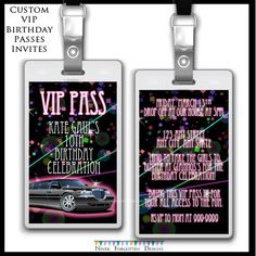 Custom Limo Club Fashion Tween Teen VIP Passes Badges for Birthday Parties Favors Goodie Bags by CoastieLife on Etsy https://www.etsy.com/listing/224798430/custom-limo-club-fashion-tween-teen-vip