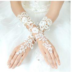 Fashionable Elegant The Bride Wedding Dress Gloves Luxury Diamond Cutout Lace White Gloves Fingerless Gloves Wedding Accessories