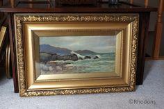 Art, Oil Paintings, Early 1900s Original Coastal Landscape Oil Painting By C Henderson