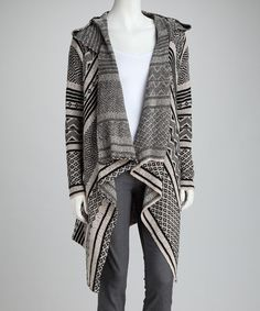 Take a look at this Relais Knitwear Black Hooded Open Cardigan by Relais Knitwear & Cyrus on #zulily today!