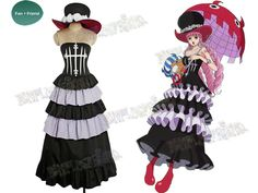 Get great deal of Perona Costume Dress from One Piece cosplay, 100% handmade with high quality smooth cotton fabric, fast making and shipping.