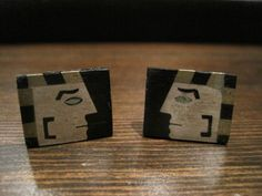 $65 MODERNIST MEXICO Signed RHI STERLING SILVER Wood CUFFLINKS EGYPTIAN FACE