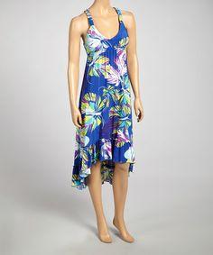 Another great find on #zulily! Blue Floral Sleeveless Hi-Low Dress - Women #zulilyfinds