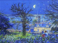 Moonlight over the Church, Falmouth. By British Artist Ted Dyer. Original Oil Painting on Canvas.