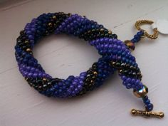 Woven Beaded Bracelet Royal Purples gold by BeadTrunkCreations, $42.00