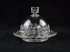 Findlay's Bellaire Round Covered Butter Dish, Antique EAPG Glass c.1891, Bulls Eye