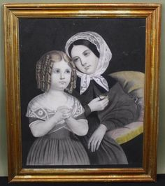 Antique 19thc Folk Art Marble Dust / Sand Paper Drawing of a Mother and Daughter.