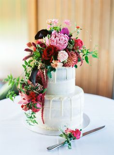 Our semi-naked engagement cake with real flowers. Made by the incredible Sina's kitchen in Brisbane, Queensland. The most beautiful cake I have ever seen. So much talent! Flowers by All Fabulous Flowers. #seminakedcake #semi #naked #cake #flowers #freshflowers #engagement #wedding #pink #red #greenery #inspiration #perfect #tier #two #floral #amaranth #roses #jasmine #peonies #dahlias
