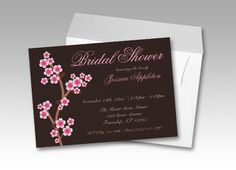 bridal shower invitations with cherry blossoms over a rich dark brown color