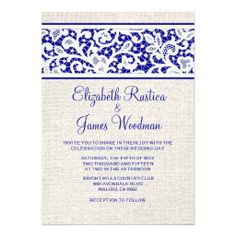 wedding invitations cobalt blue lace burlap - Google Search