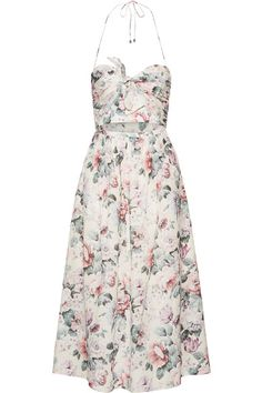 Zimmermann - Jasper Printed Cotton-voile Halterneck Dress - Pastel pink - 2