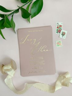 Dusty Rose Wedding Invitation Blush and Gold Wedding Invite Sample